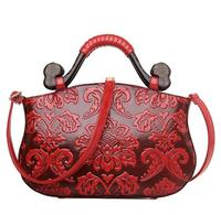 Chinese Embossed Celebrity Ladies Bags Luxury Designer Womens Leather Handbags Vintage Wood Handle Bags For Middle Aged Female