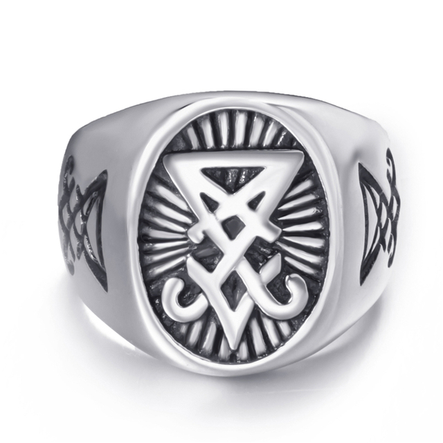 Mens Stainless Steel Ring with Satan Symbol 1