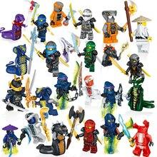 24 шт./лот Совместимость Legoing NinjagoINGlys ниндзя герои Кай Джей Cole Zane Ллойд с оружие Действие игрушки ninjago Рисунок Конструкторы