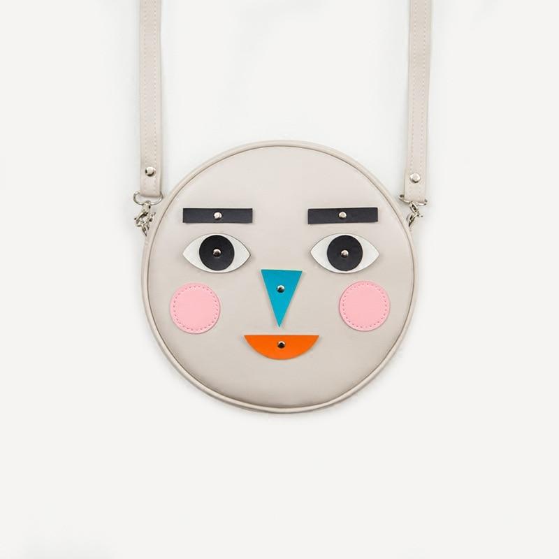 2018 new Korea face expression bag creative funny messenger bag machine expression cylinder pu leather shoulder bag