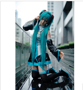 free shipping Vocaloid Miku Hatsune Cosplay Costume 5 pcs set
