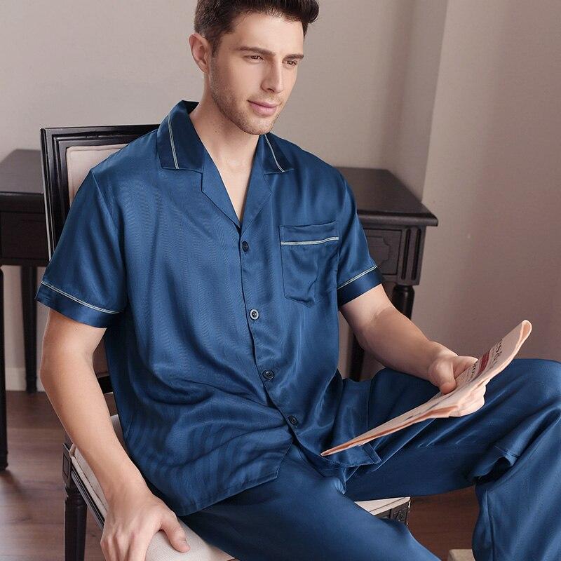 Бесплатная доставка Новые летние мужские пижамные комплекты шелковые пижамы с короткими рукавами длинные штаны мужской 100% шелковицы 2 шт. к