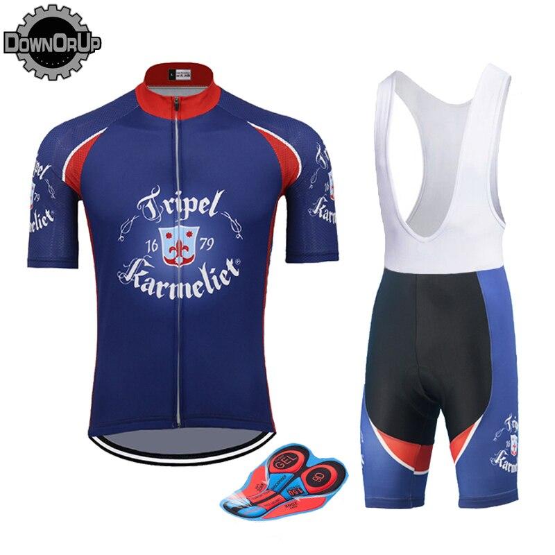 Belgiu KARMELIET homem camisa de ciclismo Manga Curta azul pro equipe de bicicleta vestuário set 9D gel almofada respirável MTB maillot ciclismo