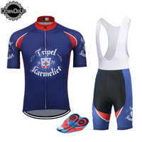 Belgiu KARMELIET man cycling jersey blue Short Sleeve pro team bicycle clothing set 9D gel breathable pad MTB Maillot ciclismo