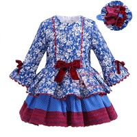 Pettigirl 2017 Spring Girl Blue Dress Floral Bow High Waist Flare Sleeve Boutique Clothing For Kids G-DMGD908-1007