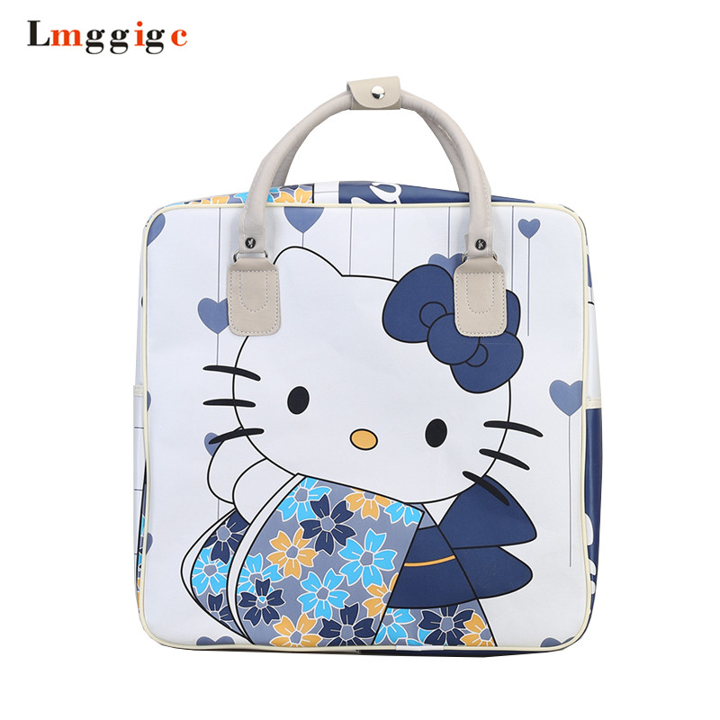 Hello Kitty Travel bag, Women Duffle bags,Cartoon luggage,Kids Suitcase,Child Handbag,Girl Shoulder Bag ,37.5*37.5*17 CM