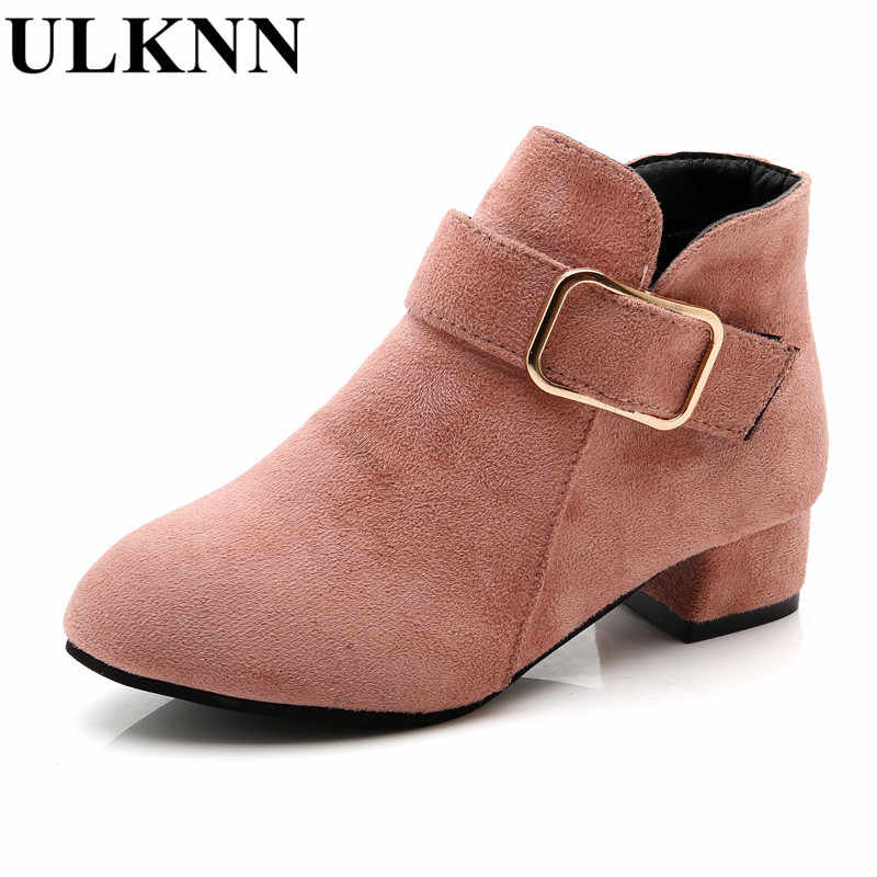 0f959bd95b39b Detail Feedback Questions about ULKNN winter Ankle Boots For girls Kids  Slip On Pointed Toe shoes Children boots high heeled princess shoe enfant  Khaki ...