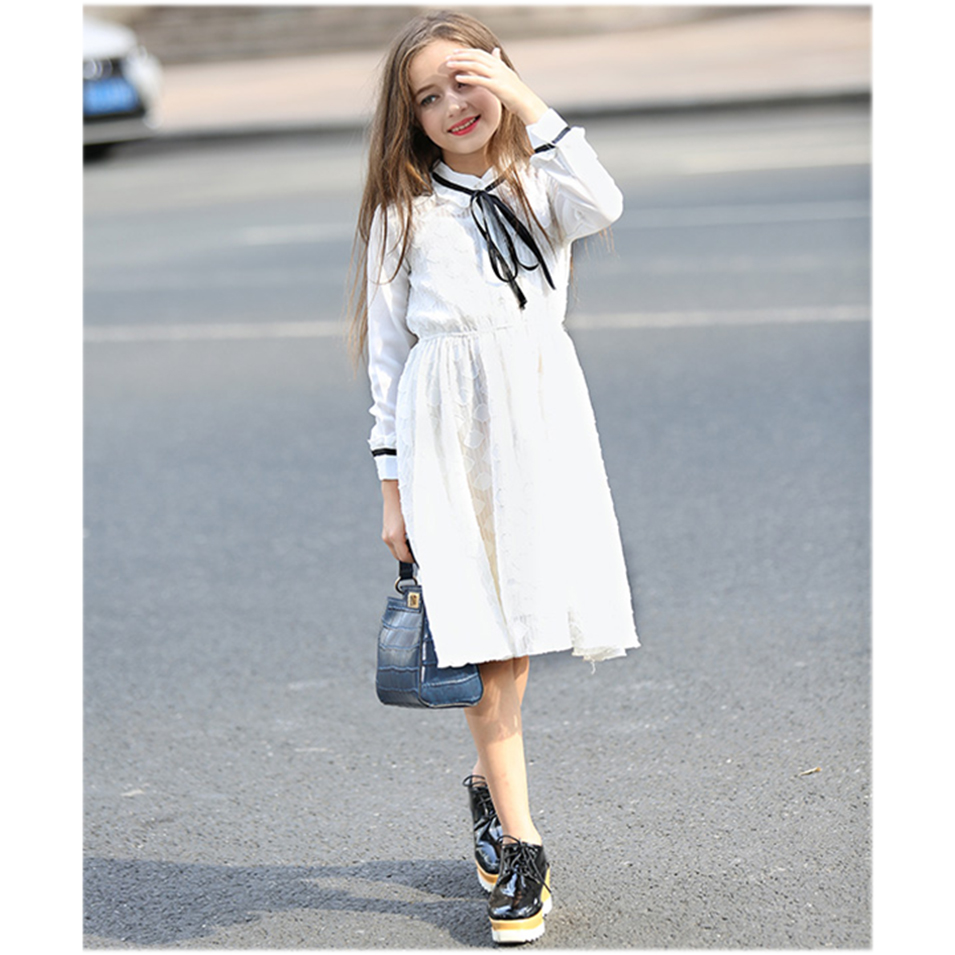 Girls White Lace Dress 6 8 10 12 14 16 Years Teen Girls Dress Long Sleeve Princess Dress for Kids Girls Spring Autumn Children kids dress autumn girls princess dresses korean teenage baby girls dress cotton long sleeve bow children costume 6 8 10 12 years