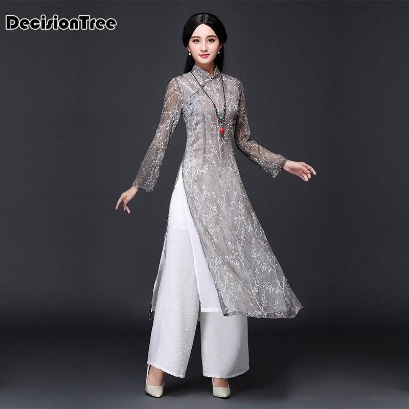 2019 ao dai red style ao dai vintage ethnic aodai long sleeve qipao women silk long cheongsams dress for party Рубашка