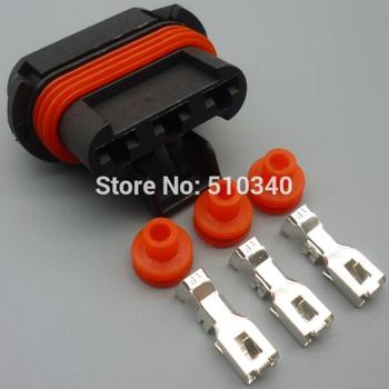 100 Sets 3 Pin hole 6.3 mm Waterproof  Female  Automotive jacket  Cooler Fan Connector Auto Plug For Haval H3