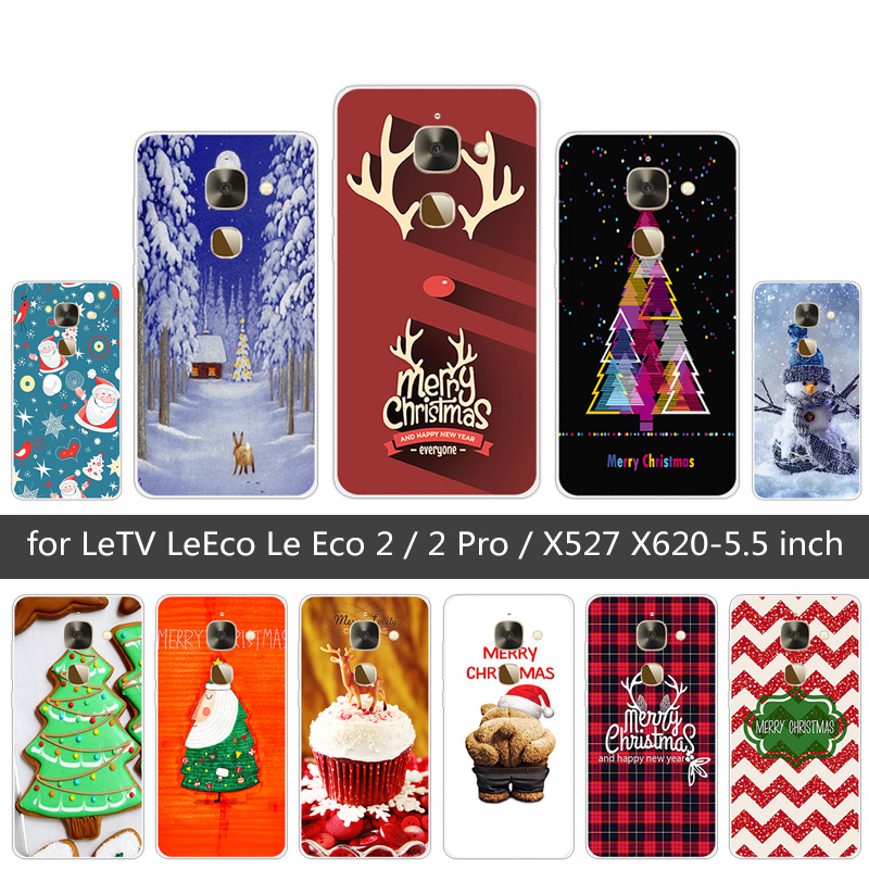For Letv LeEco Le Eco 2 / 2 Pro Phone Cases for Letv X527 X620 Silicone Merry Christmas Back Covers for Letv LeEco 2 / 2 Pro
