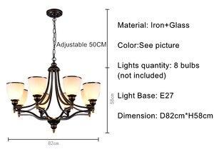 Image 5 - 3 lumières Bronze frotté à lhuile, Style européen Vintage, 6 lumières, 8 lumières, luminaire dintérieur, verre, luminaire dintérieur