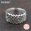 100% Real Pure 925 Sterling Silver Jewelry Thai Silver Retro Style Mosaic Rings for Women Men Christmas Gift Bijoux MKS20105