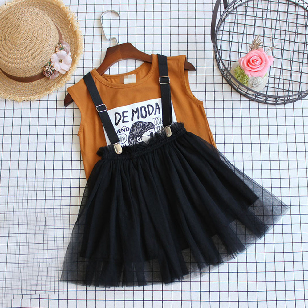 Toddler Kids Baby Girl Cartoon Letter T shirt Tops Tulle Skirt 2Pcs Clothes Set kids clothes toddler girl clothes