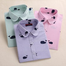 Harajuku Print Women Blouses Shirts Cotton Long Sleeve Ladies Tops Collar Floral Blusas Big Sizes Clothing Female Top Shirt 5XL