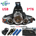 3T6 USB jack 10000 lumens led headlamp headlight CREE XML T6 waterproof  head Flashlight head light 18650 Rechargeable battery