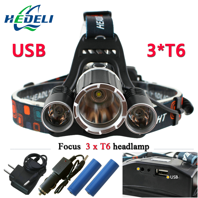 3T6 USB jack <font><b>10000</b></font> lumens led headlamp headlight CREE XML T6 waterproof head Flashlight head <font><b>light</b></font> 18650 Rechargeable battery