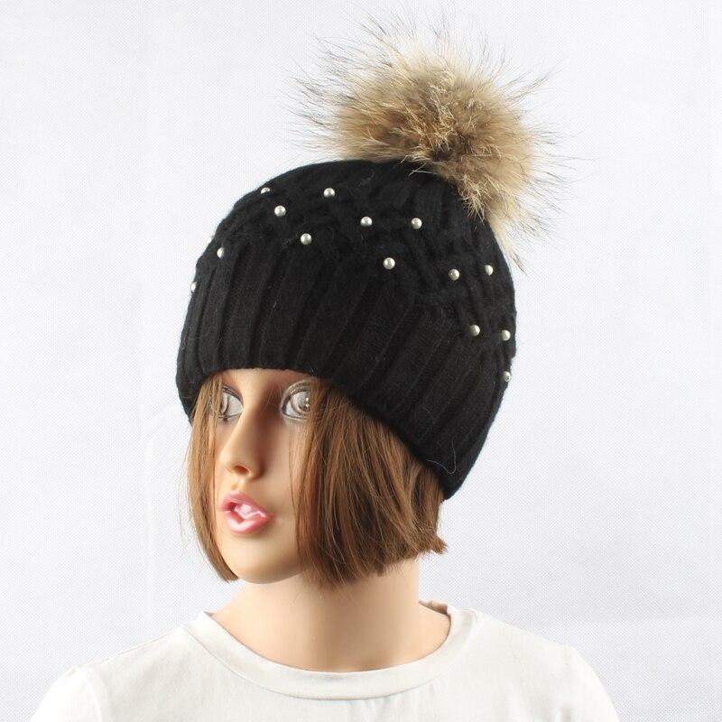 Կանացի մորթուց Pompom Hat Տիկնայք - Հագուստի պարագաներ - Լուսանկար 3