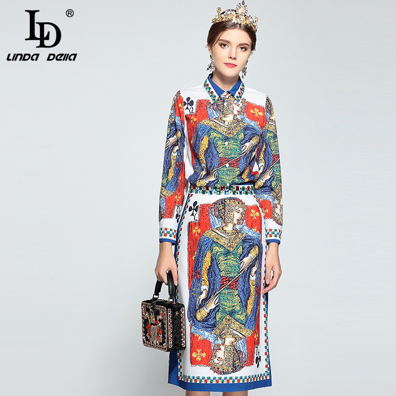 LD LINDA DELLA New 2018 Fashion Runway Designer Suit Set Women's Long sleeve Playing card Queen Print Blouse and Skirt Set