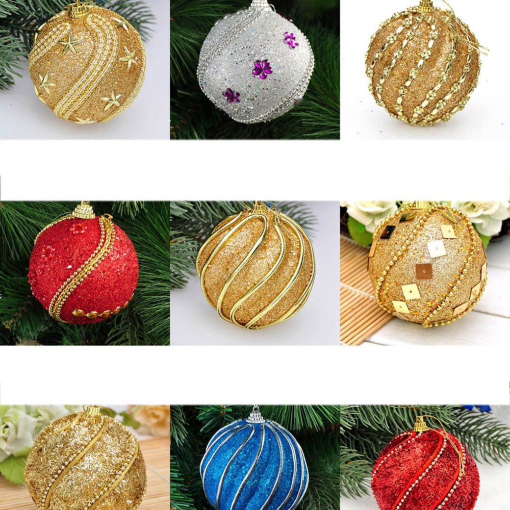Glitter Faux Pearl Foam Ball Bauble Hanging Christmas Tree Pendant Decoration he