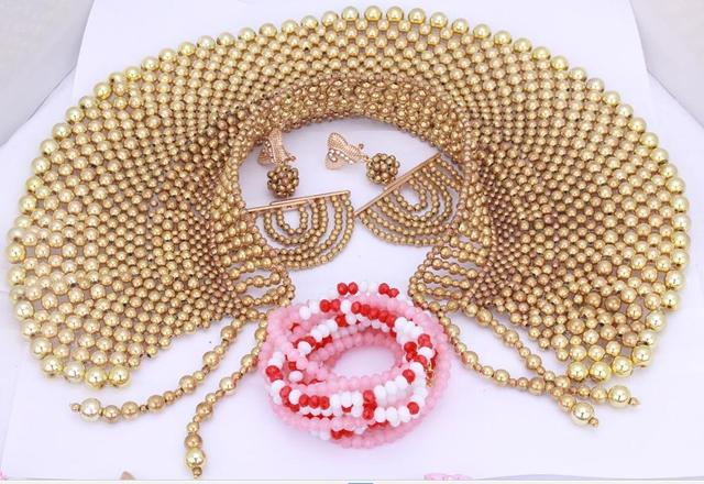 Plated Gold Indian Bridal Jewelry Sets Necklace Nigerian Wedding