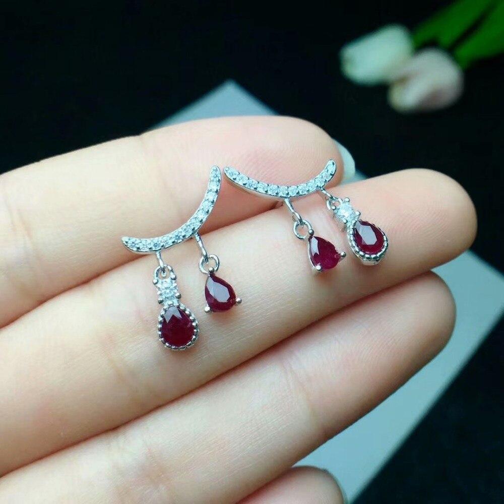 Shilovem 925 naturel naturel rubis boucles d'oreilles bijoux fins personnalisable à la mode femmes fête cadeau nouveau 3*4mm ce030401agh