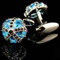 Luxury Blue Glass Cufflinks for Mens High Quality An crown Crystal Cufflinks Shirt Cuff Links And gift box