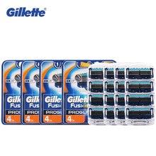 Original Gillette 4pcs/4packs Shaving Razor Blade Fusion Proglide  Safety Shaver Blades Suit  Shaver Razor Blades for men
