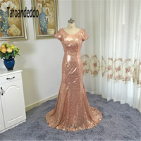 D Honneur Gold Sequin Short Sleeves Bridesmaid Dresses Open Back Long Party Dress Vestido Madrinha Casamento