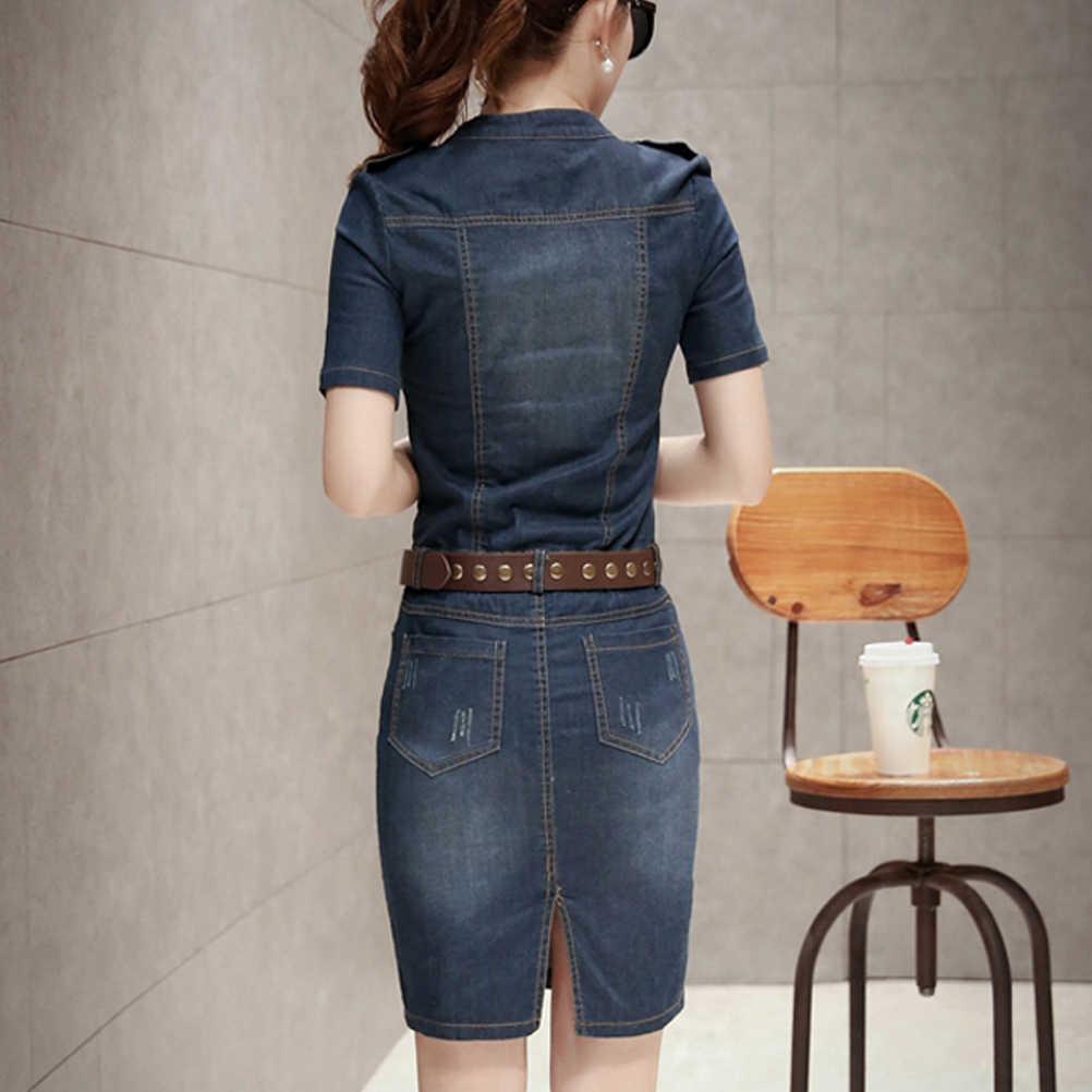 2018 Для женщин платье из джинсовой ткани тонкий Повседневное вечерние клуб офисные джинсы Для женщин платья Плюс Размеры Дамы халат Vestidos