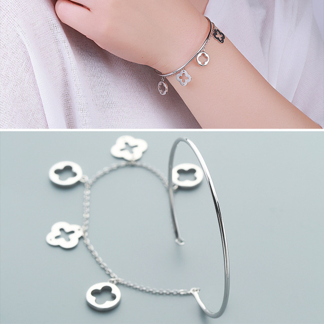 Factory Direct Sales S925 Silver Bracelet Female Fashion Korean Royal Clover Bracelet