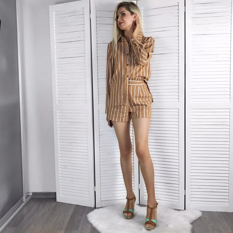 Summer Vintage Striped Women Suits Two Piece Set 2019 Spring Summer Button Blouse Tops And Back Zipper Shorts Casual Tracksuits