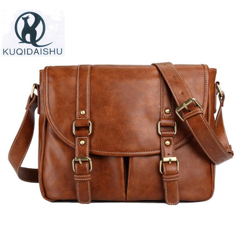 Vintage Men Messenger Bags PU Leather Shoulder Bags High Quality Waterproof Crossbody Travel Bag Large Capacity Brown Black xi yuan 2017 genuine leather bags men high quality messenger bags small travel dark brown crossbody shoulder bag for men gifts