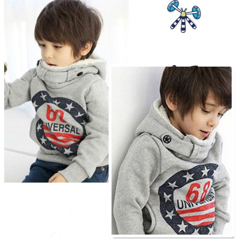 3-8 Years Old Children's Clothing Spring New Korean Long-sleeved Cashmere Hooded Sweater Cartoon