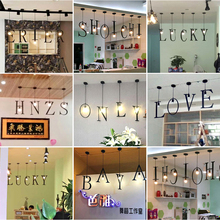 Iron Art English Letter Chandelier Creative A-Z Combination Restaurant Cafe Bar Clothing Store Decoration Lamp