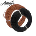Awaytr 100m 1mm Genuine Real Leather Round cord/String/Thread Natural Brown making/design Jewelry Necklaces Pendant Bracelet