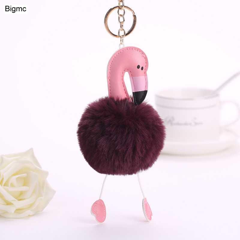 Moda Bonito pompom chaveiro flamingo chaveiro fofo falso coelho mulheres bola de pêlo pompom saco chave do carro Anel titular de jóias K1619