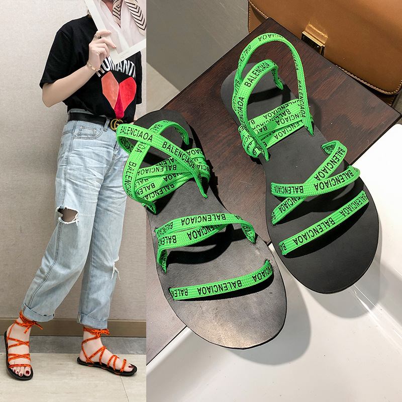 2019 summer new fairy wind fluorescent green letter flat bottom Roman sandals female