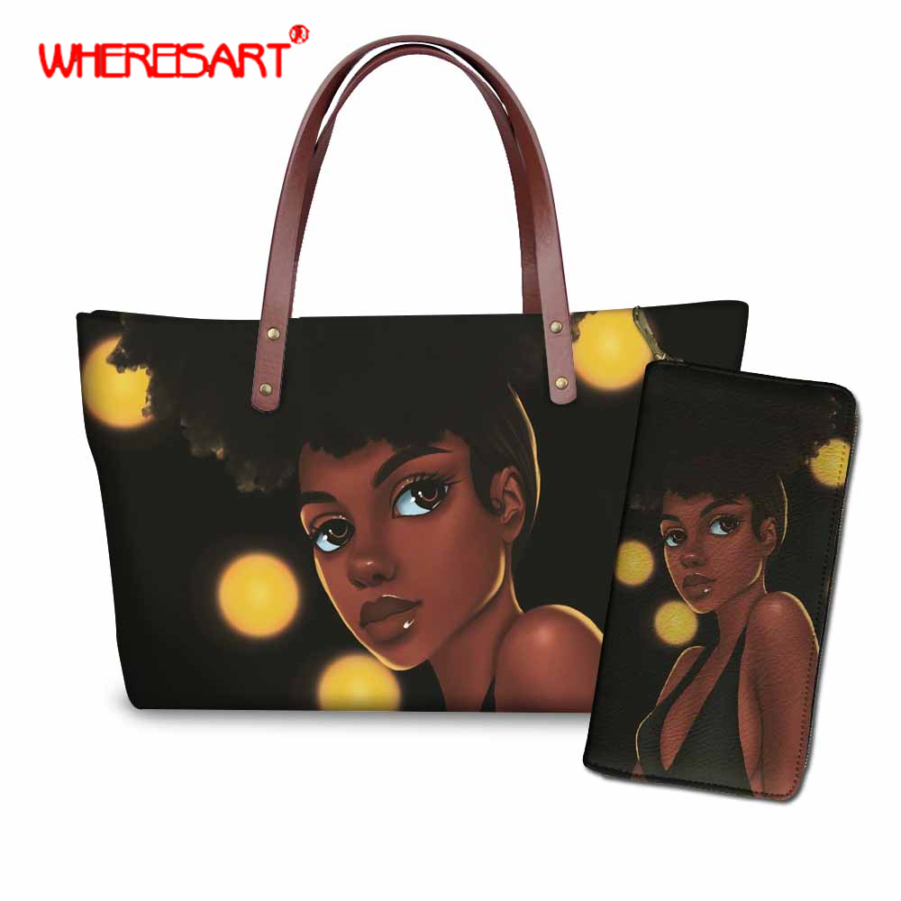 WHEREISART Fashion Purses and Handbags, Two Pieces Set Women Handbag, Black Art African Girl Purse for Women, Ladies Hand BagsWHEREISART Fashion Purses and Handbags, Two Pieces Set Women Handbag, Black Art African Girl Purse for Women, Ladies Hand Bags