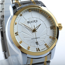 BIAOKA Gold calendar Men Mechanical Watch mens automatic watch Steel strap Transparent Montre Homme Wristwatch 100 m Waterproof ik colouring gold steel strip calendar automatic mechanical watch vintage mens watch male casual watch