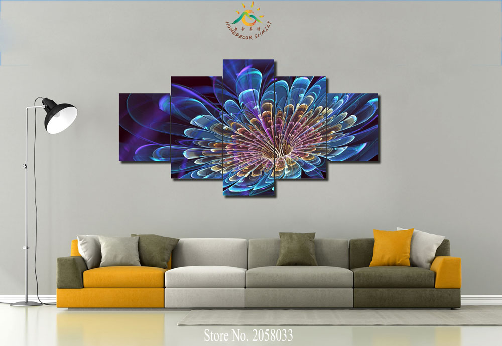 3 Or 4 Or 5 Panels/set Phasing Flower Abstract Modern Home