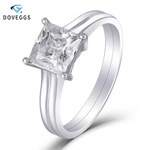 DovEggs Solitaire Ring 14K White Gold 1.5 Carat ct 6.5mm F Color Princess Cut Moissanite Diamond  Engagement Ring