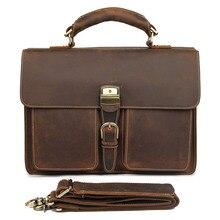 Crazy Horse Leather In Totes Bag  Men Briefcases Handbag Messenger Bag Portfolio Laptop цена