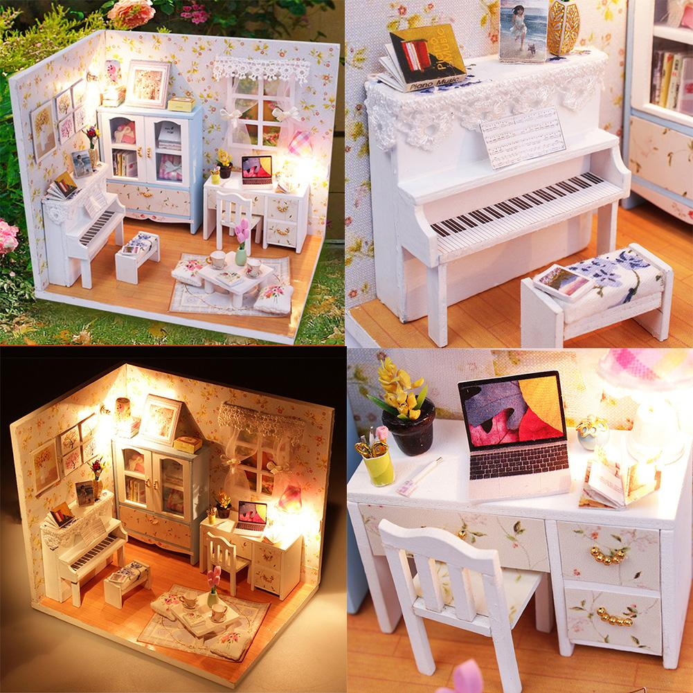 ФОТО Kits DIY Wood Dollhouse Piano Miniature With LED+Furniture+cover Doll house Gift