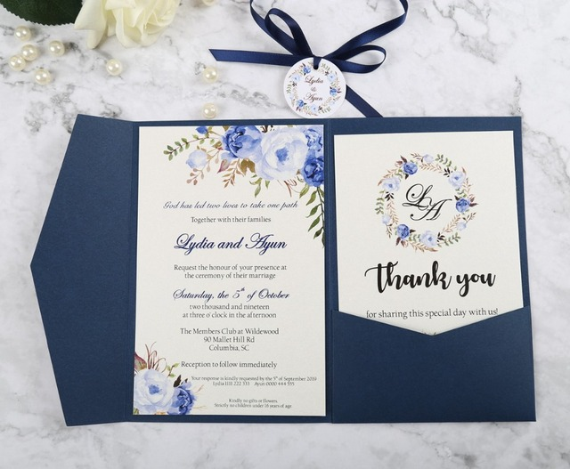 100pcs Blue Pocket Burgundy Greeting Cards With Envelope Customized Party Wedding Invitations Ribbon And Tag