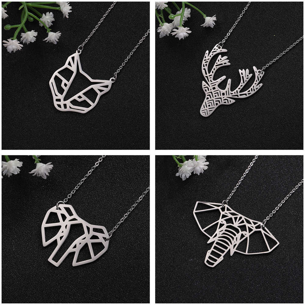 Teamer Deer Fox Elephant Dog Head Pendant Necklace Women Statement Hollow Geometric Pet Animal Stainless Steel Collier Chain