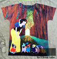 Track Ship+New Vintage Retro T-shirt Top Tee Snow White Princess with Seven Dwafts Dressed Pug Dog in Forest 0427