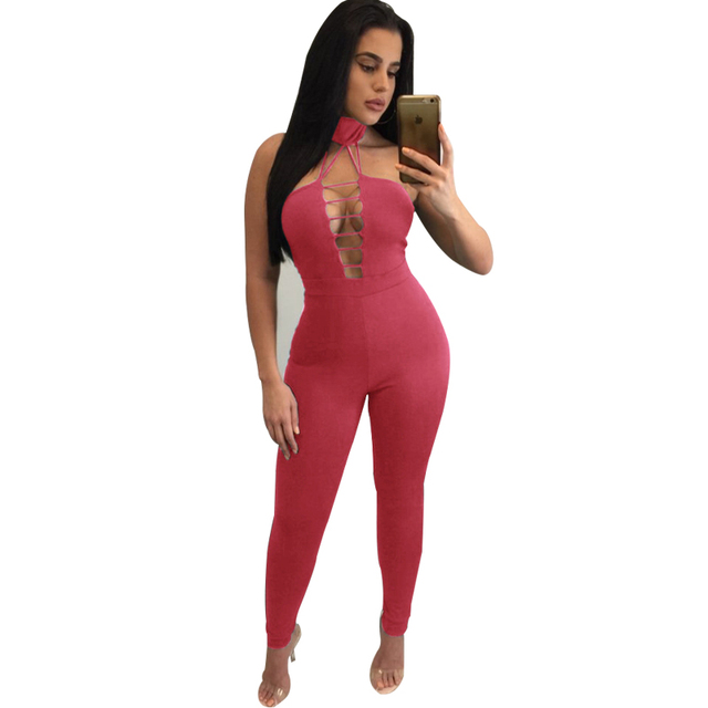 Pink Choker Rompers Women Jumpsuit Slim Off Shoulder Sleeveless Backless Femme Overalls Playsuit Sexy Club Party Long Jumpsuit