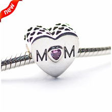 Fits Pandora Bracelets 2016 <font><b>Mother</b></font> Heart Silver Beads with Pink CZ 100% 925 Sterling Silver Charms DIY Jewelry 08376