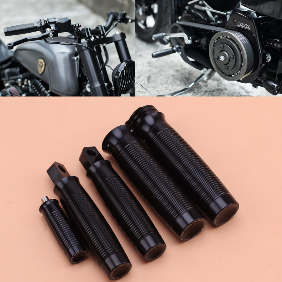 "Black Rough Crafts 1/"" Handlebar Grips for Harley Sportster XL1200 883 48"